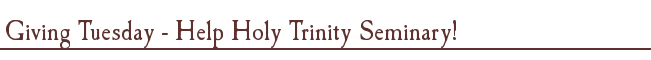 Giving Tuesday - Help Holy Trinity Seminary!